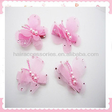 Lovely pearl pink lace butterfly baby girls hair clip