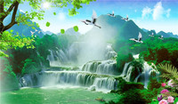 running water Chinese painting landscape wall murals wallpaper