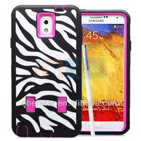 New Hard Case Zebra-stripe 3 in 1 Hybrid Rubber Impact Silicone Case Cover For Samsung Galaxy Note 3 N9000