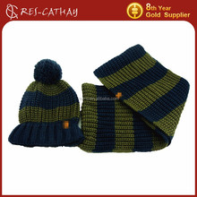 2015 men stripe knitted pattern matching beanie and scarf