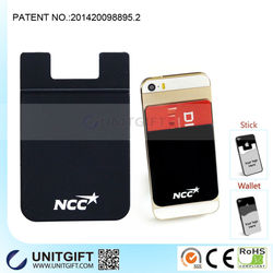 Custom logo printed Smart Wallet Silicone Phone Pouch with 3M sticker, Silicone cell phone business card name card money holder