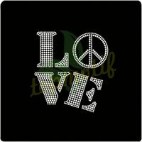 LOVE PEACE Hot Fix Strass Design For T-Shirts crystal decoration