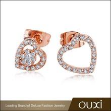 OUXI new design unique fancy heart shaped stud earrings for girls