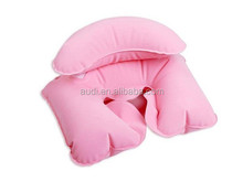 Fabric Inflatable Travel Pillow Flocked Blow-Up Cushion Neck Support Plane/Car pvc