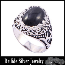 Hight quality black agate DF121873 Bezel setting value 925 silver ring