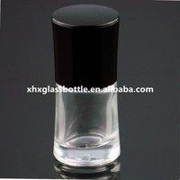 fancy 10ml nail polish glass bottle flat black white nail brush