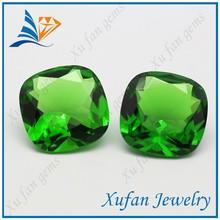Dark green square glass semi precious gemstone