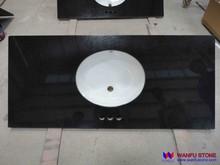 Composite Absolute black granite bathroom vanity top / double sink vanity top
