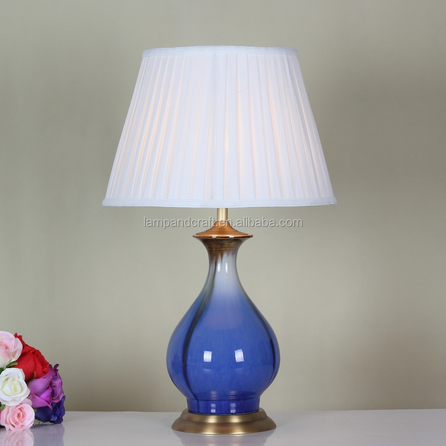 Low price wholesale copper metal base blue porcelain table for Table lamp bases wholesale
