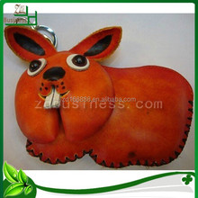 Rabbit design genuine leather animal shaped coin purse for woman