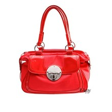 Shiny bling bling Chinese traditional red ladies handbag with big sized metal decoration