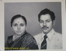 Indian Charcoal Painting From Photo