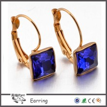 Fashion jewelry stainless steel nice cubic zircon gold plated 2015 earring for girls