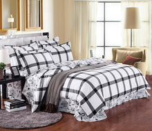 hot sale wholesale plain design 100% cotton home use comfortable checkered pattern square bedding set