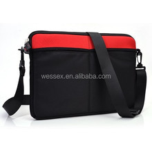 """Neoprene Sleeve Messenger Bag Neoprene Laptop Bag 13"""" Red Black Computer Bag"""