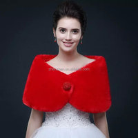 OEM Service MN-A007 Women Winter Short Red Faux Fur Wedding Bridal Jacket