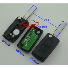 0536 models flip remote key 2 button VA2 434Mhz with ID46 chip for Peugeot 207 307 308