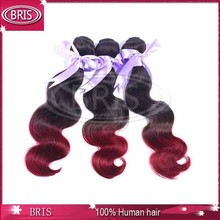 new arrival dark red color human hair weaving