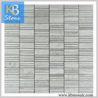 Irregular heart shape white oak mosaic marble wall tile backsplash