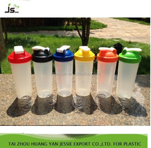 plastic protein shaker bottle bpa free/customized shaker bottle with stainless steel ball