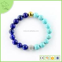 2015 Lapis Yiwu Handmade Lucky Turquoise & Lapis Beads Stretch Bracelet