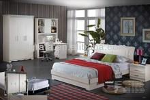2014 moderno diseño romántico dormitorio conjunto está hecho por la madera sólida y tablero de mdf con la talla
