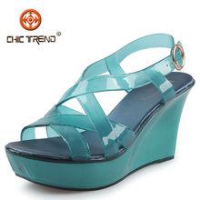 Fabricantes 2015 Sandalias mujer a la moda transparentes gelatina zapatos cristal