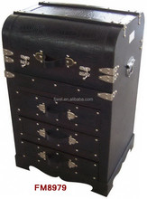 Black Crocodile Leather and Wood Chest With Drawers Cabinet