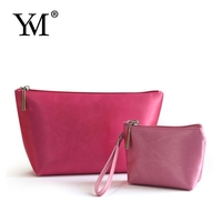2015 hot sell gift fashion contents pink Satin make up cosmetic bag for promotion