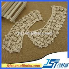 Algodón blanco hermosa flor del cordón del bordado cuello collares