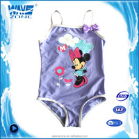 Pure colored girl's bikini bathing suits with cute cartoon print and bowknot
