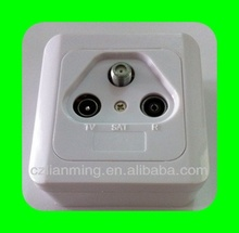 950-2450mhz satellite FM+TV Wall Socket with plastic cover