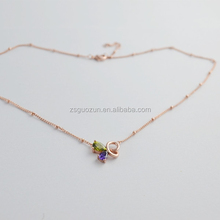 New model compact butterfly shaped drop necklace/pendent necklace/necklet/collars/neck ring with crystal for cute girls