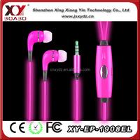 LED flashing earphone EL light Glowing earphone/noise cancelling silicone earplugs