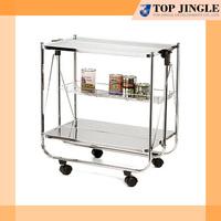 2 Tier platform Metal Foldable serving Trolley
