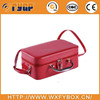 customized red PU leather cosmetic box packaging with shoulder-strap