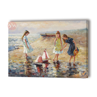 Art deco beach kids oil painting for decorative wall hanging picture