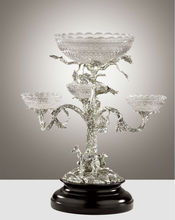 Luxury Crystal Lidded Jar, Home Decorative Art & Craft ,With Brass Base And Decoration
