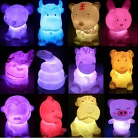 Custom made new led flashing light up mini cute animal toy for kids