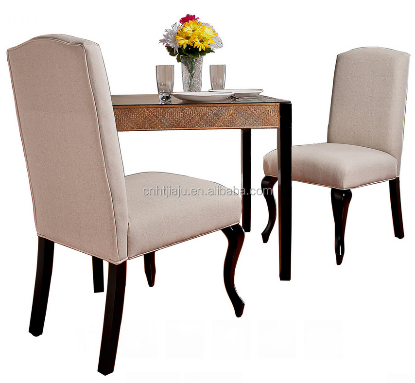 High Back Beige Fabric Dining Chair Set Of 2 Buy Fabric
