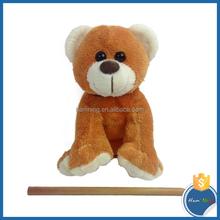 13cm Animal design sitting plush bear with silk ribbon