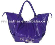 GU-211 ladies fashion designer high end petent leather tote bag branded hot sale wholesale