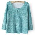 Lã de woen/fibras acrílicas grande rodada colarinho manga longa cardigan sweater