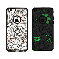 "NEW HOT Painted Various Flower Pattern TPU+PC Back Skin Phone Case Cover For Apple IPhone 4 4S/3.5"" 5/5S/5G 4.0"" Glowing"