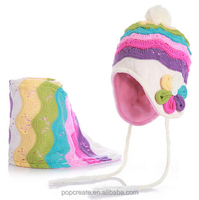 Girls soft cashmere winter knitted hat scarf gloves set