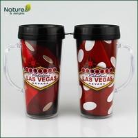 16oz 450ml Double Wall Plastic Insulated Coffee Mug with Handle and Lid