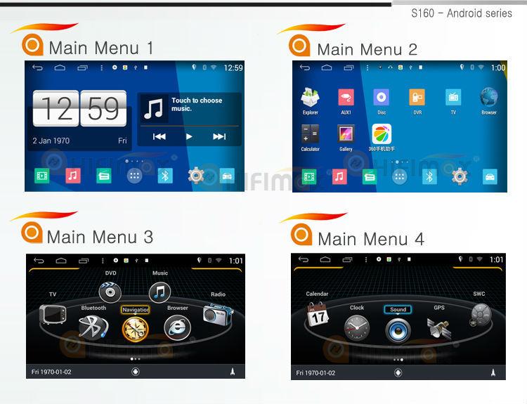 s160 main menus