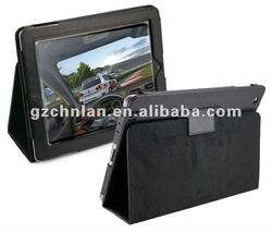 For ipad 3 leather case with hole black color