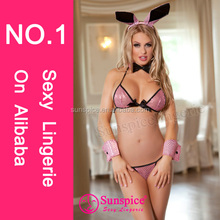 Sunspice hot sale lingerie wholesale pink latex bunny costume sex school girl costume sexy bunny lingerie