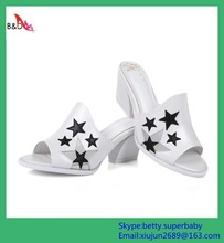 BD08 latest design 2015 ladies fancy summer leather slipper sandal shoes chunky heel big size 42